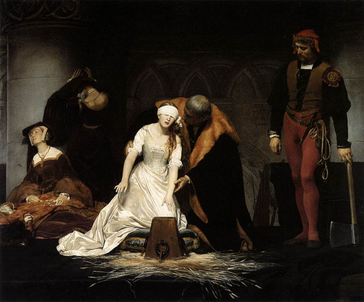 Detail view of Hippolyte (Paul) Delaroche's The Execution of Lady