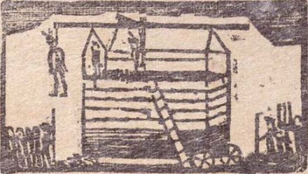 Illustration of Pomp's hanging from the broadsheet