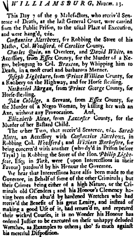 Image: Account of a Williamsburg, Va. mass hanging on Nov. 23, 1739